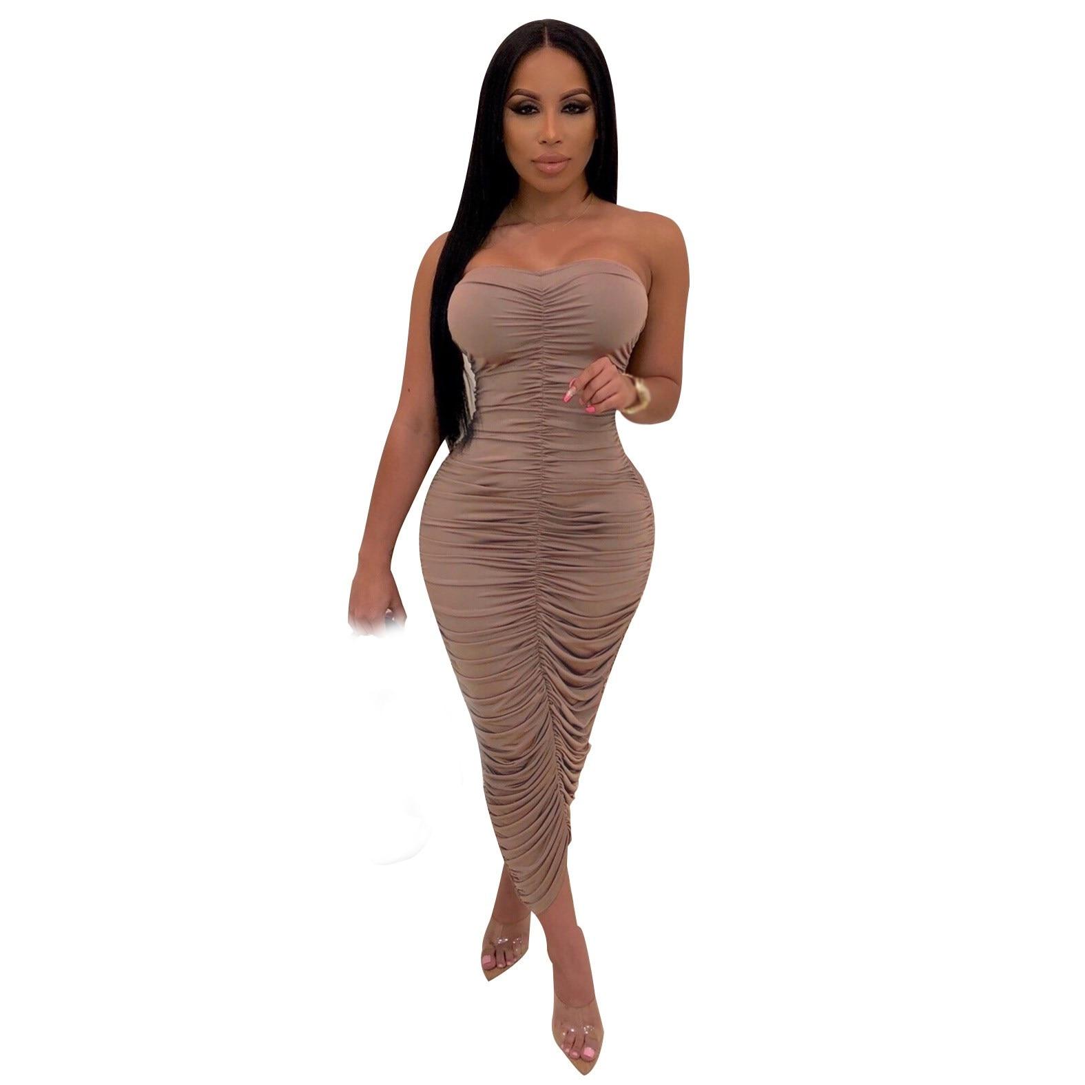 Fashion 2019 Women Summer Maxi Dress Sexy  Club Off Shoulder Pleated Sexy Dress Bodycon Elegant Backless Dress thumbnail
