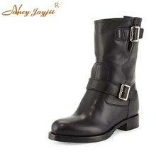 Ретро черный bupperstar женские ручной работы с пряжкой обувь до середины икры на низком каблуке круглый носок осенние резиновые Сапоги Botas Piel Mujer