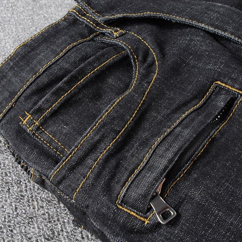 Sokotoo الرجال الكلاسيكية الأسود السائق الجينز لدراجة نارية زائد كبيرة حجم مطوي تمتد الدنيم السراويل عالية الجودة-في جينز من ملابس الرجال على  مجموعة 3
