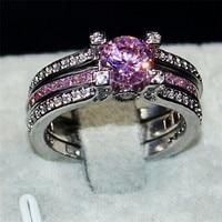 Modeschmuck 925 Sterling Silber ring dame Prinzessin geschnitten rosa 5a Zirkon CZ Ring set Engagement Hochzeit Braut ringe Finger