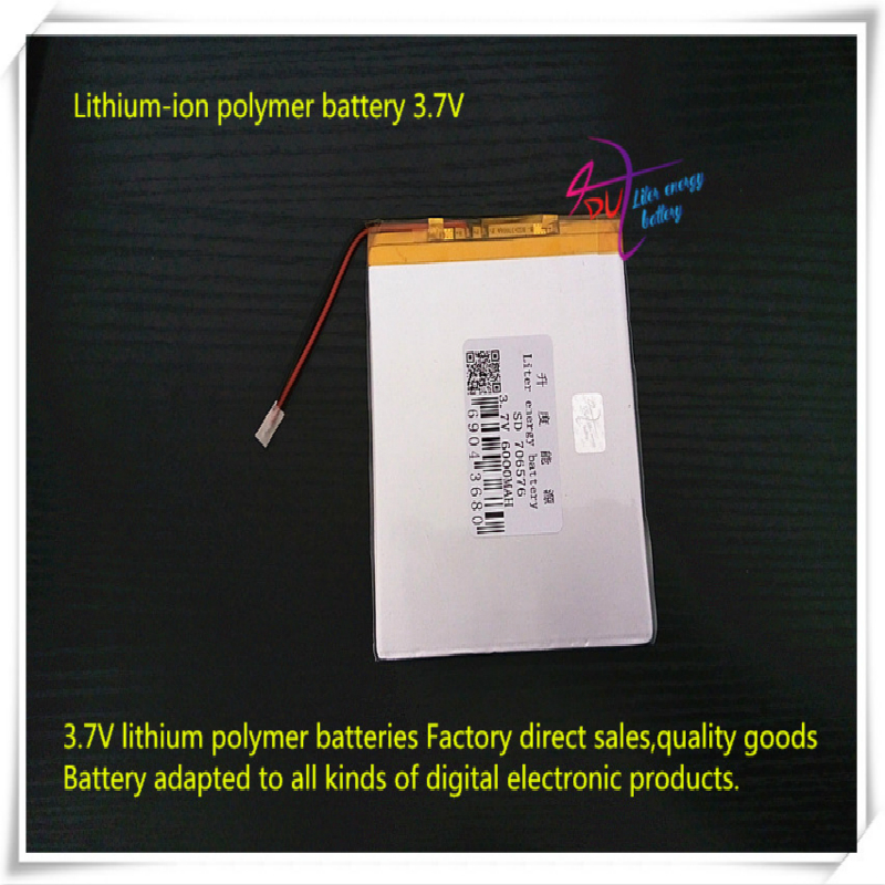 <font><b>3.7V</b></font> <font><b>6000mAH</b></font> 706576 (polymer lithium ion / Li-ion battery ) for tablet pc POWER BANK cell phone mp5 print image