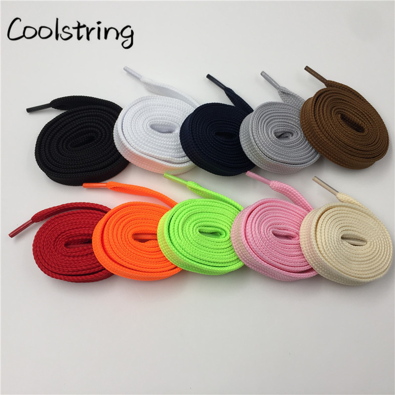 Coolstring Heavy Duty Polyester Double Layer Boot Laces Sneaker Athletic FAT Flat Wide Shoes Strings 1.8cm Width Shoelaces Lady