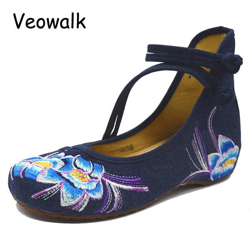 Veowalk Handmade ฤดูใบไม้ผลิดอกไม้ปักหญิงผ้าใบบัลเล่ต์ Flats ข้อเท้าสูงสาย Vintage สุภาพสตรี Denim Casual รองเท้า