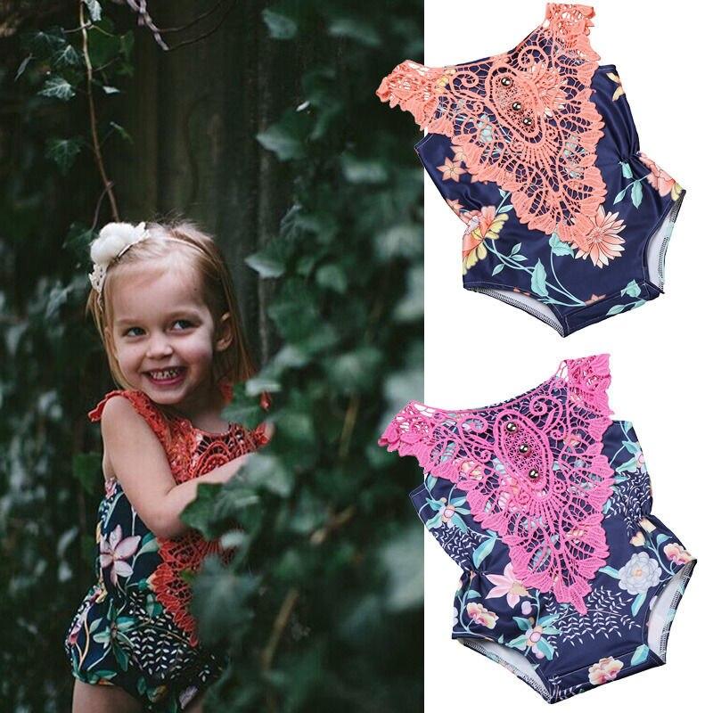 GLANE Newborn Baby Kids Girls Floral One Piece Swimsuit Swimwear Beachwear Binkini  Jumpsuit Clothes Outfits