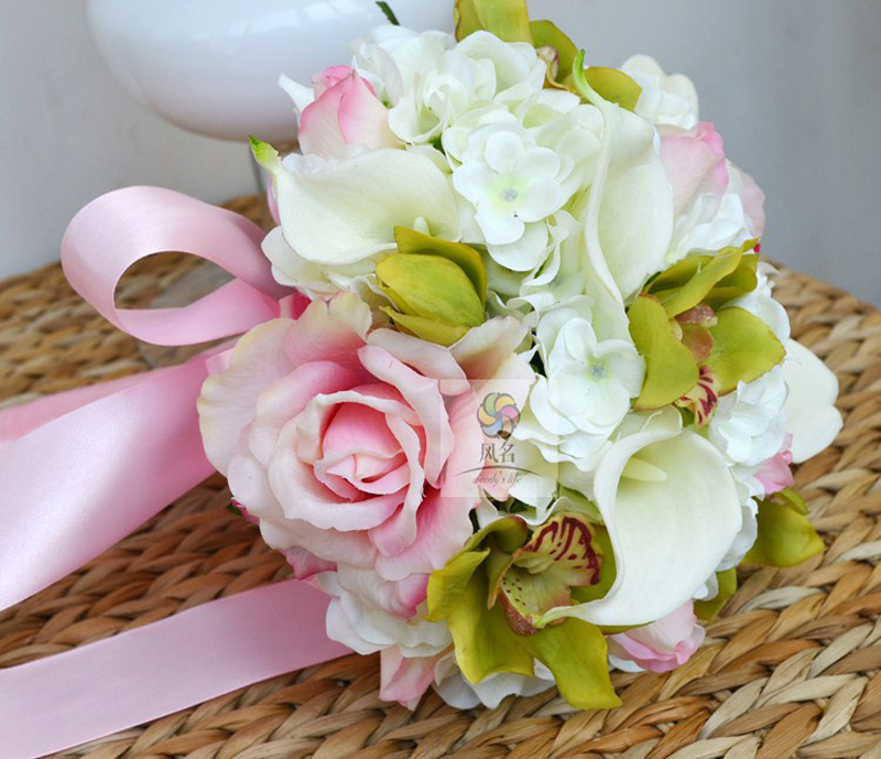 Handmade bride bridesmaid holding flower bouquet white pink handmade bride bridesmaid holding flower bouquet white pink artificial flower simulation flowers wedding supplies gift bouquets in artificial dried mightylinksfo