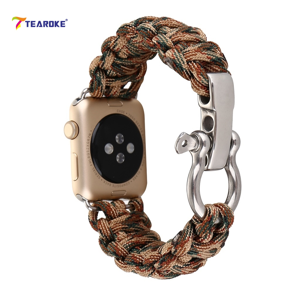 TEAROKE Woven Nylon Watchband For Apple Watch 38mm 42mm Camo Military Tactical Parachute Cord Watch Band for iwatch Outdoor ремешок apple 42mm red woven nylon mpw72zm a