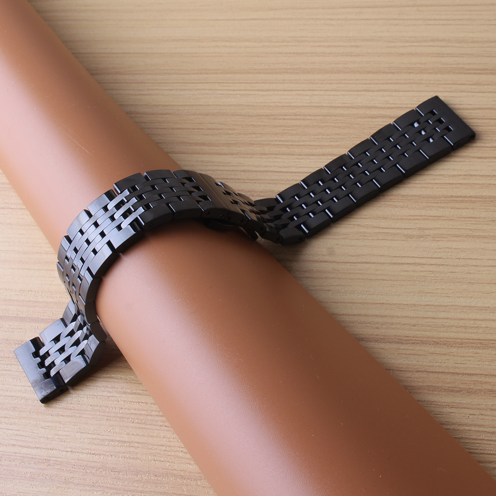 High quality black Watchbands straight end stainless steel watch strap bracelet men 18mm 19mm 20mm 21mm common watch accessories high quality lowest price wholesale kz 19 pneumatic combination steel metal strapping packing machine for 19mm steel strap tape