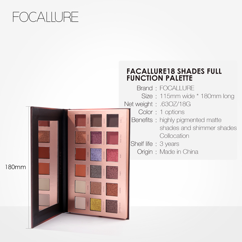 FOCALLURE 18 Colors Glitter Eyeshadow Highly Pigment Easy To Blend Shimmer Palette Cosmetics Glitter Eye Shadow Makeup Beauty
