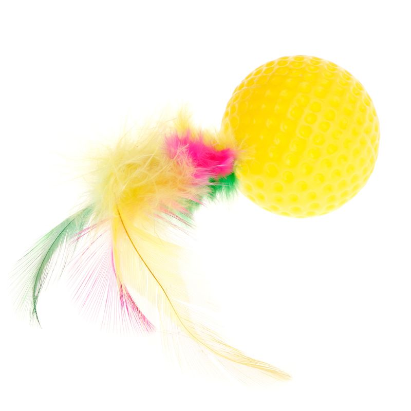 Cat Teaser Golf Ball Feather Colorful Toys Squeaky Chew Play Intelligent Interactive Funny Pet Dog Puppy Kitten Supplies
