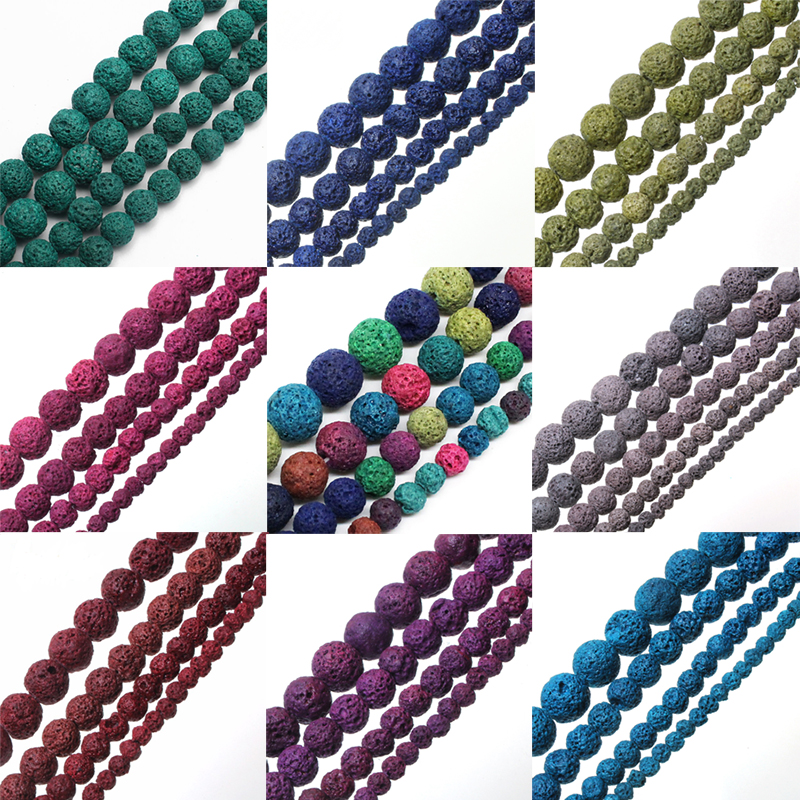 Wholesale Multicolor Lava Volcanic Stone Round Loose Beads For Jewelry Making Diy Bracelet Necklace Jewellery 4 6 8 10 12mm 15 Price Remains Stable Beads