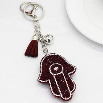 9 Colors Lucky Women Keychain Amulet Hamsa Fatima Han Pendant Leather Rhinestone Key Finder Key Rings Accessories Women Chaveiro