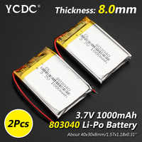 Size 803040 3.7v 1000mAh li-ion Lipo cells Lithium Li-Po Polymer Rechargeable Battery For Bluetooth speaker PDA Tachograph toys