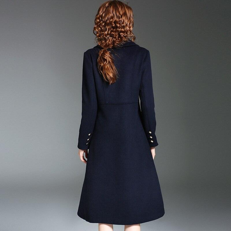 Bleu Femmes Top Longue Qualité Double Laine Solide Marque Yqm Manteaux Mode Nouvelle Face Marine 2017 Hiver Piste Boutonnage Mince wxIU8q