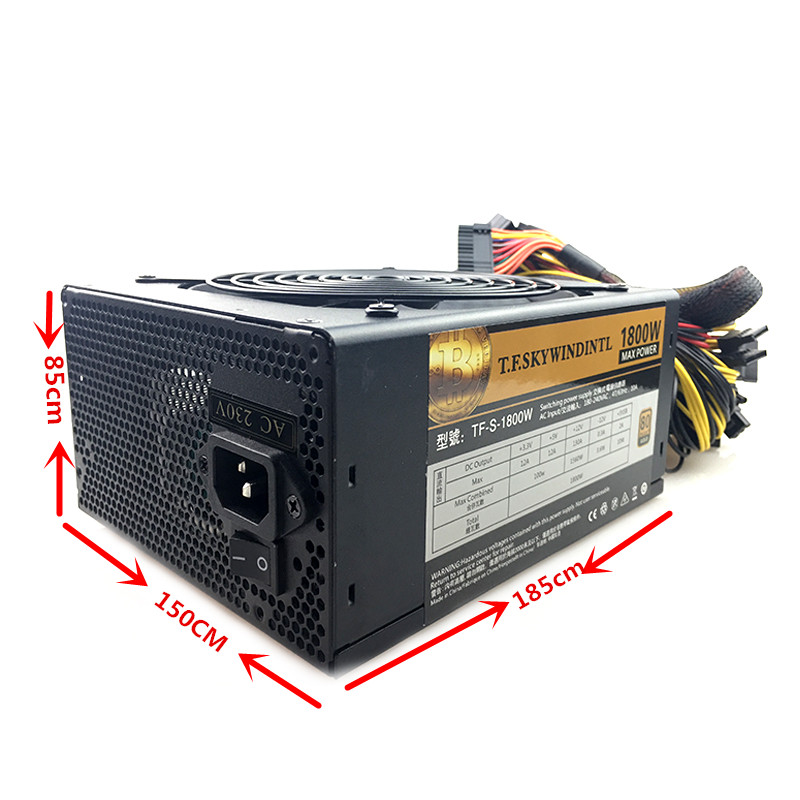 Купить с кэшбэком T.F.SKYWINDINTL ETH ZCASH BTC Miner 1800W PSU Power Supply For R9 380/390 RX 470/480 RX GPU GTX 1800W ATX Mining Power Supply