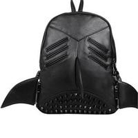 Fashion New Style Black Women Rivet Backpack Personality Shark Unisex Large Capacity Laptop Bags PU Fashion Men Wings Backpack