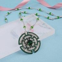ZOZIRI high qualtiy 3A cubic zirconia party necklace muti color green stones flower necklace Wedding Bridal Dress Accessories