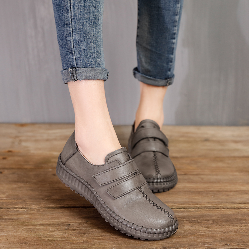 ФОТО 2017 Spring Handmade Genuine Leather Women Flats Vintage Style Round Toe Comfortable Female Casual Shoes Woman