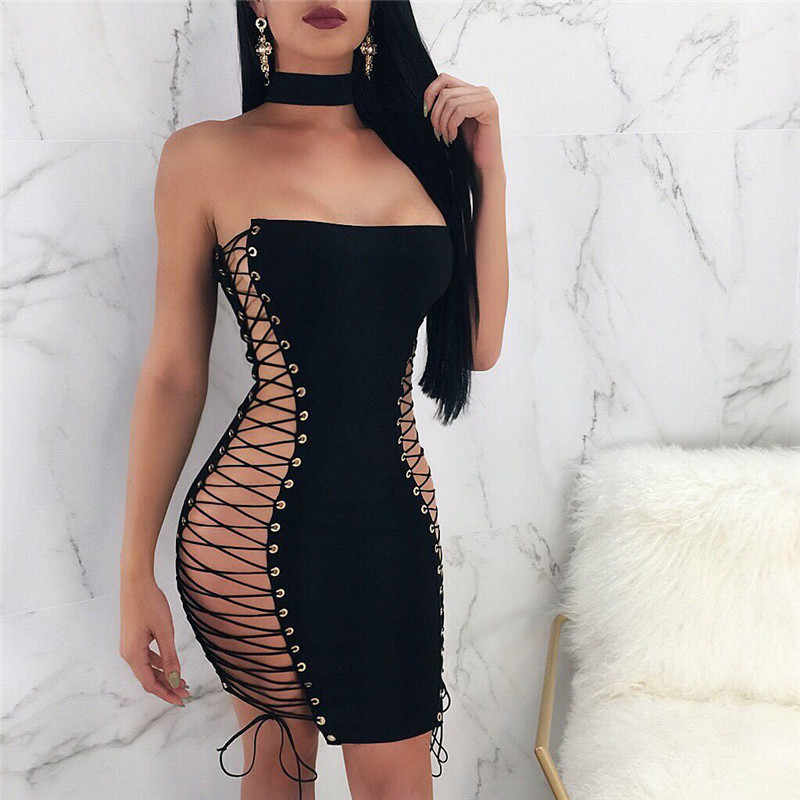 3820c7fed9 ... Black Strapless Sexy Bandage Dresses 2018 Women Summer Sleeveless Hollow  Out Lace Up Party Bodycon Mini ...