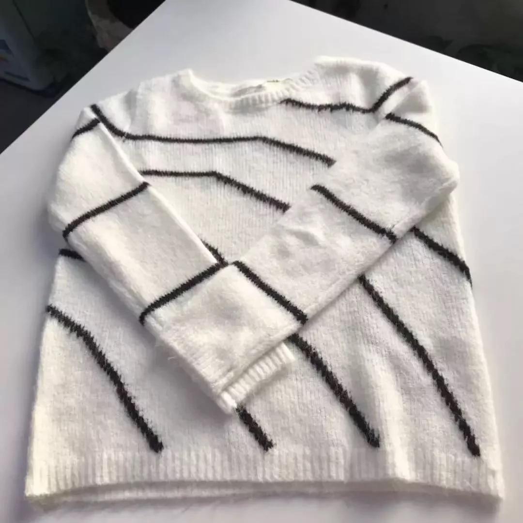 2019 spring women casual ECRU BLACK pullover pull Paige jumper Striped intarsia knit sweater