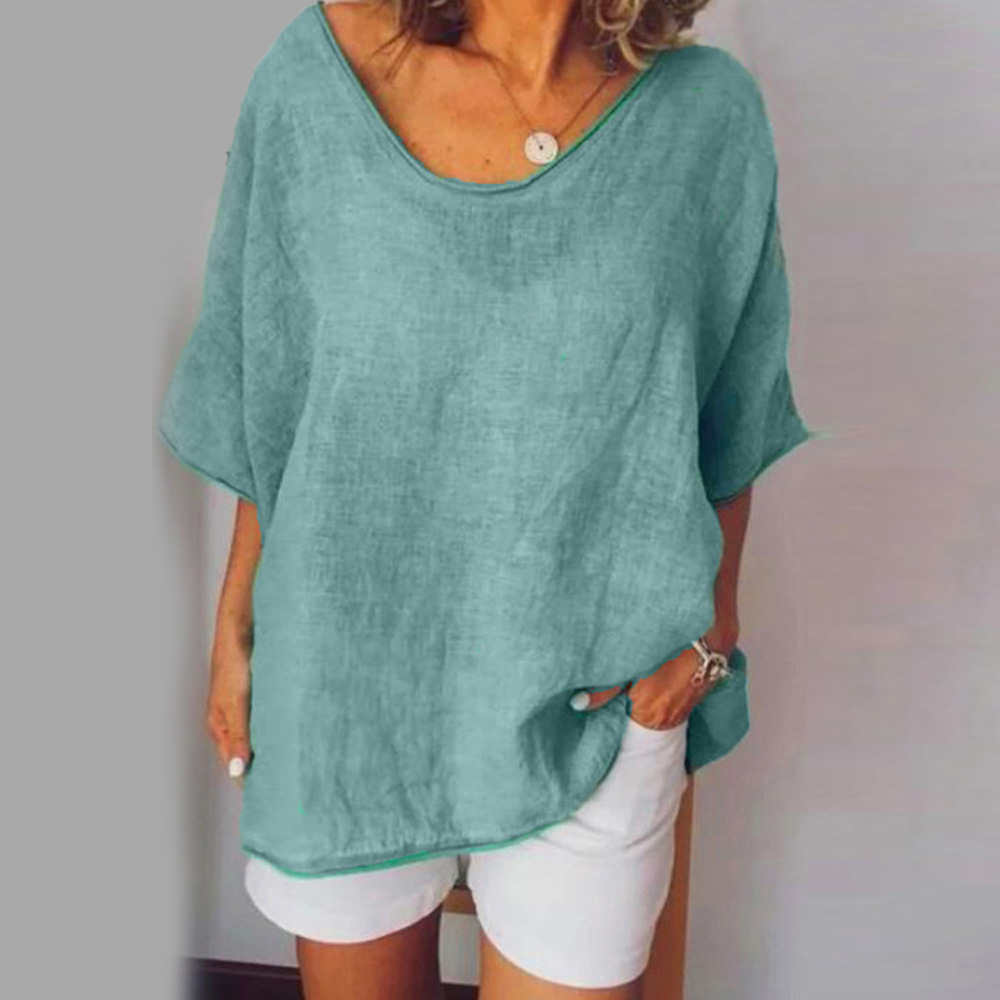 2019 New Ladies Blouse Shirts Beach Summer Baggy Tunic Fashion Solid Womens Tops