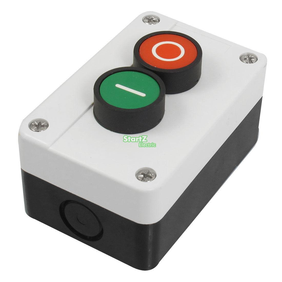 цена на AC 600V 10A Red Green Sign Ignition Momentary Push Button Switch Station N/O N/C