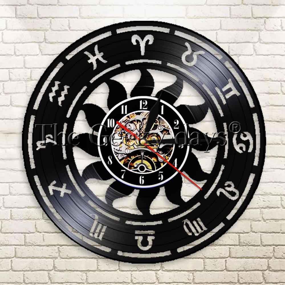 1Piece Zodiac Sign Wall Art Wall Clock Minimalist Modern Geometric Vinyl Record Clock Astrological Decorative Clock Vintage