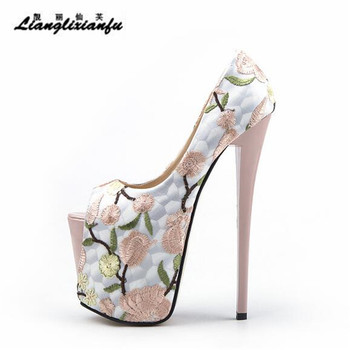 LLXF Nightclub Sexy 19cm Thin High-heeled Shoes woman Stiletto female wedding Peep Toe Retro embroidery Pumps Plus:34-45 46 47