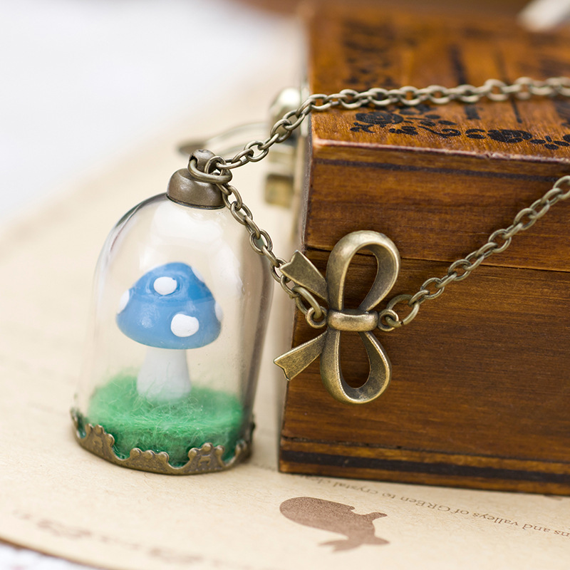 Online get cheap glass mushroom pendants aliexpress alibaba group glass bottle long chains sweater necklace vintage tone mushroom pendant necklace transparent jewelry free shaipping 160n89b mozeypictures Images