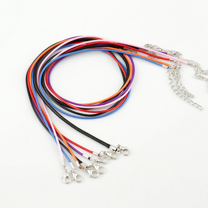 buy 100pcs mix color necklace waxed cord with lobster clasp leather string. Black Bedroom Furniture Sets. Home Design Ideas