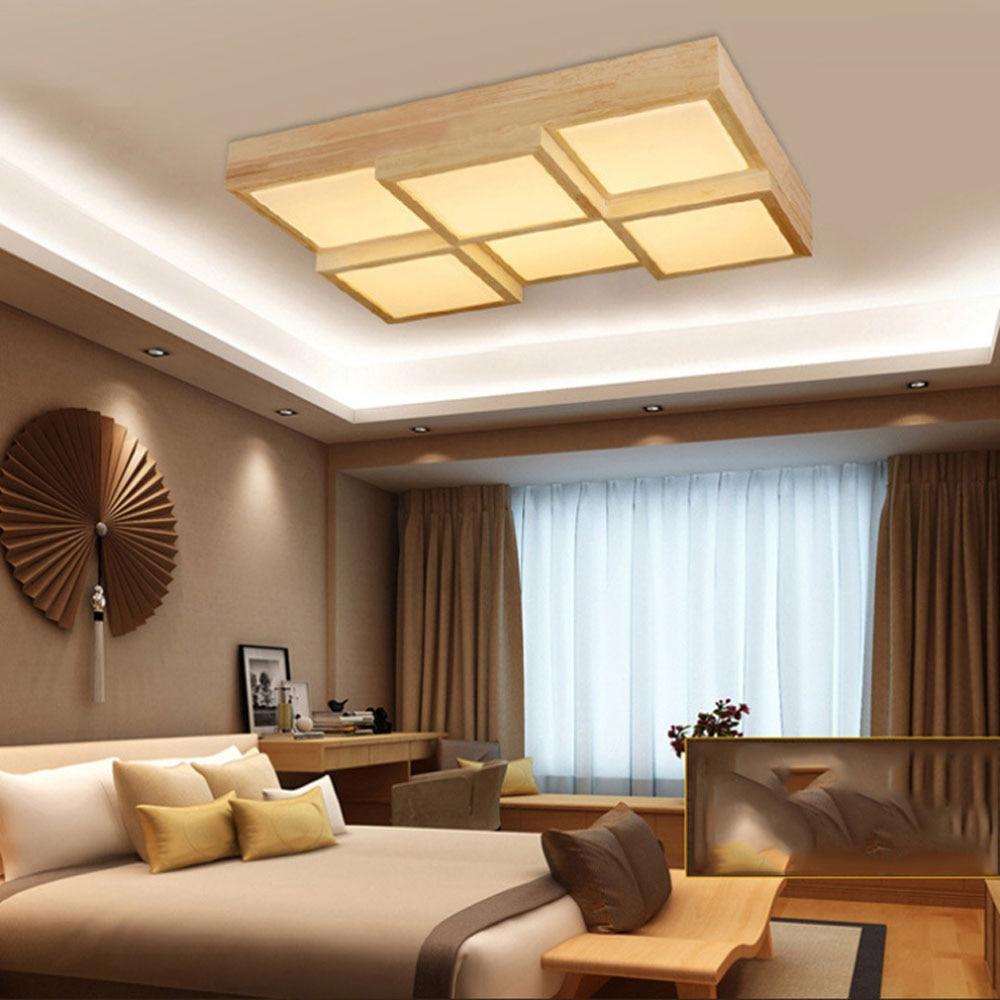 Ceiling lamps for living room - Retro Oak European Style Ceiling Lamp Living Room Bedroom Study Ceiling Light Creative Square Led Retro