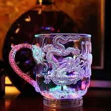1Pc Fashion LED Light Flashing Colorful Changing Water Activated Up Dragon Beer Whisky Creative Cup Mug Home Office