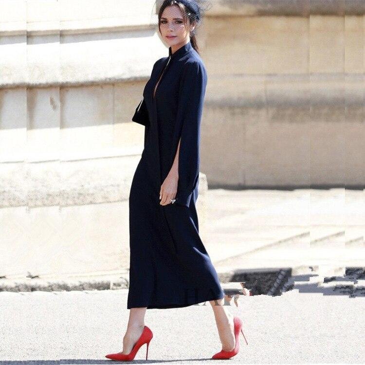 2018 Autumn New Victoria Beckham Dress Women Stand Neck Front Zipper Elegant Long Sleeve Dark Blue Dress Clothing Female