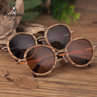 BOBO BIRD Wholesale Zebra Wooden Bamboo Polaroid Sunglasses Polaroid Sun Glasses Ladies Eyewear gafas de sol mujer in Wood box
