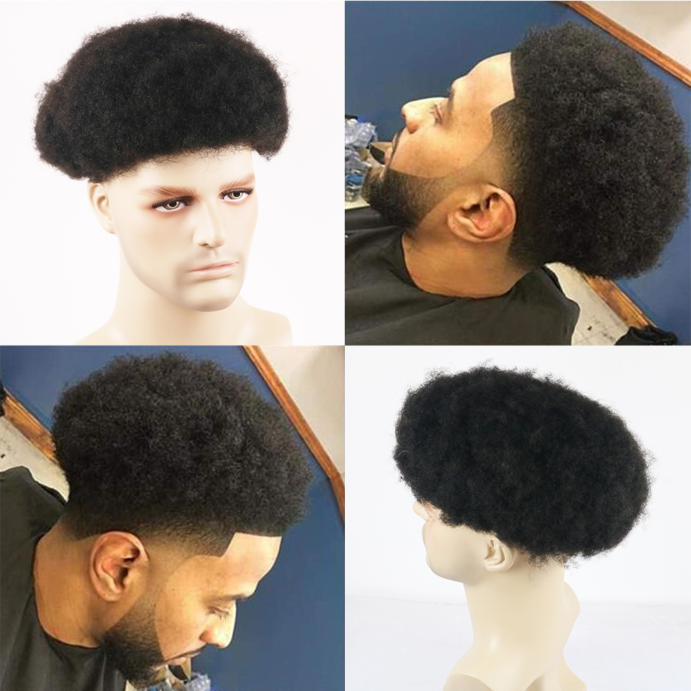 Afro Curl Mens Toupee Natural Black 1B# African American 6MM Curl Hair Repalcement System Lace Front Thin Skin Hairpieces