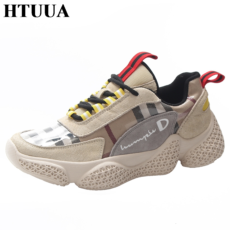 все цены на HTUUA Spring Autumn Plaid Casual Shoes Women Comfortable Platform Shoes Woman Sneakers Ladies Trainers chaussure femme SX1587