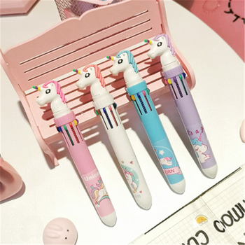 10 In 1 Colorful Kawaii Cartoon Dream Unicorn Ballpoint Pen Lovely Animal Multicolor Writing Ball Pens School