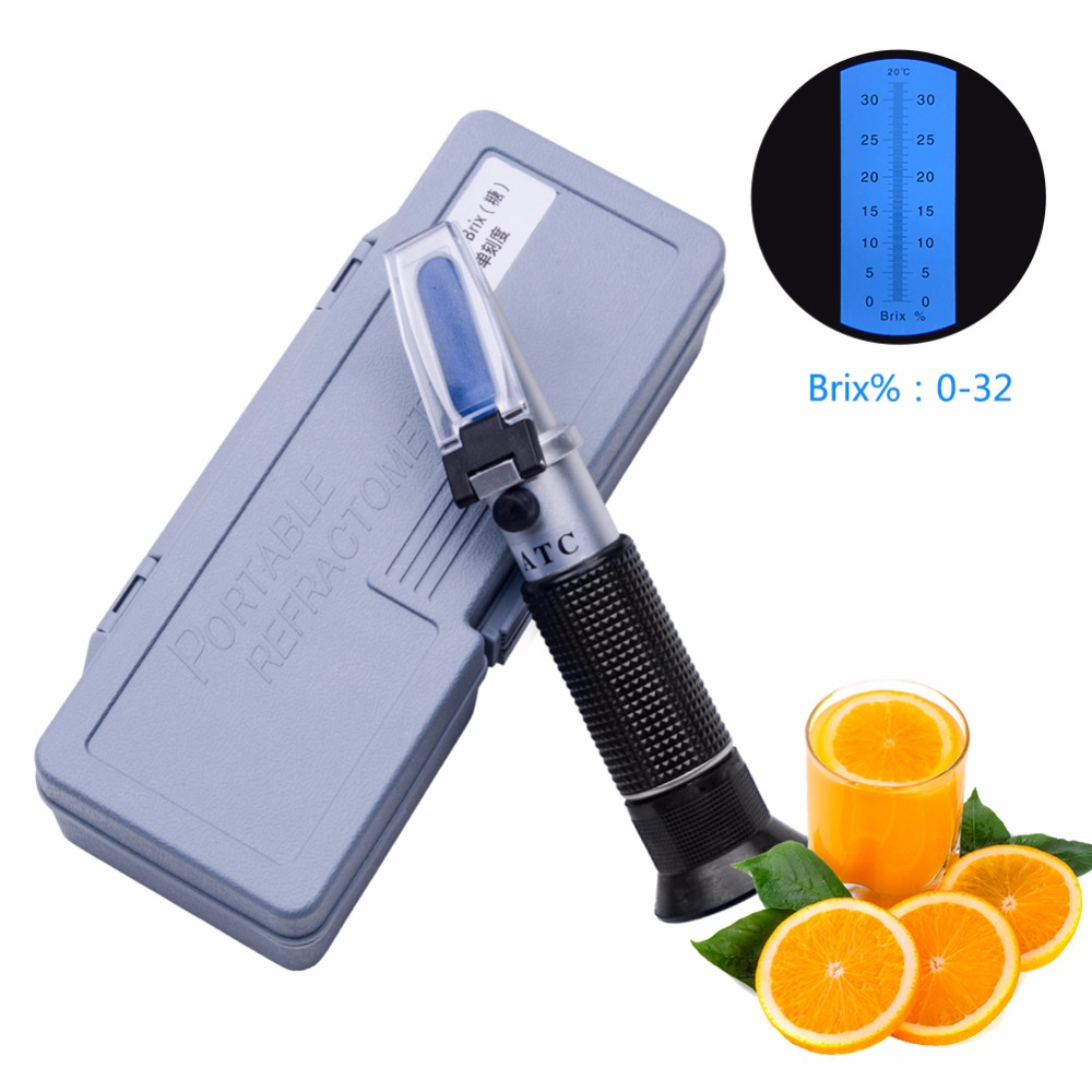 Yieryi Refractometer Sugar Degree Meter Saccharimeter Cutting Fluid Density Concentration Meter 0-32% Brix With Retail Box