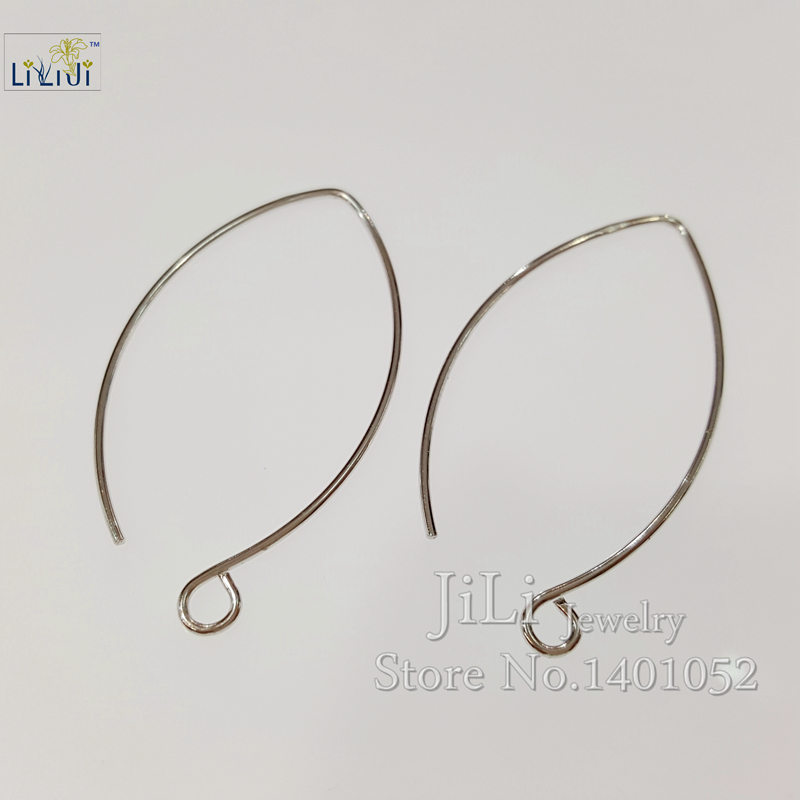 LiiJi Unique 925 Sterling Silver Long Earring Hook Jewelry Findings Accessories Part Components