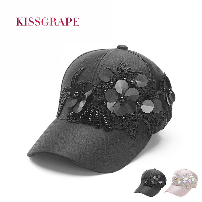 Prix pour 2017 D'été femmes de casquettes de baseball chapeaux glitter de mode fleur chapeaux de soleil noir respirant casquettes big filles rue style snapback cap