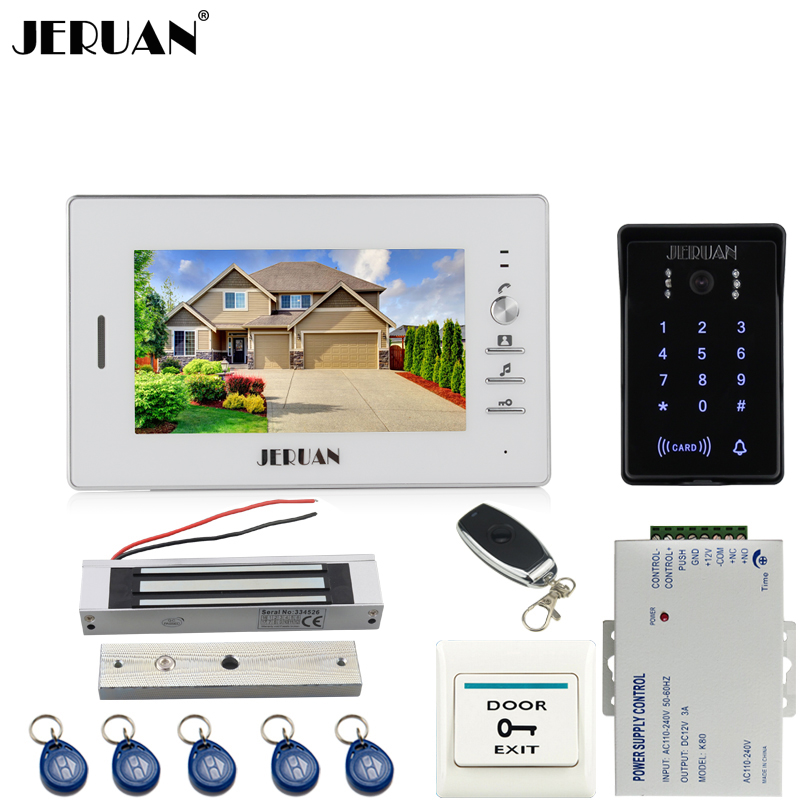 JERUAN 7`` LCD video door phone intercom system kit 700TVL RFID waterproof touch key password keypad Camera 180KG magnetic lock jeruan 8 inch tft video door phone record intercom system new rfid waterproof touch key password keypad camera 8g sd card e lock