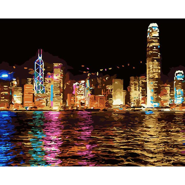 Hong Kong Night View Painting By Number Drawing Diy Paintings By