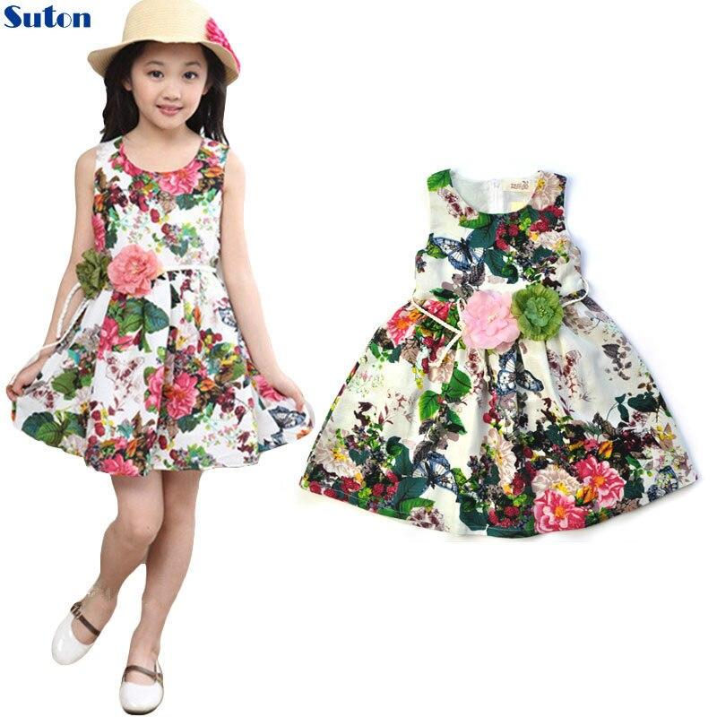 Suton Baby Girls Dress 2018 New Flower Children Cotton