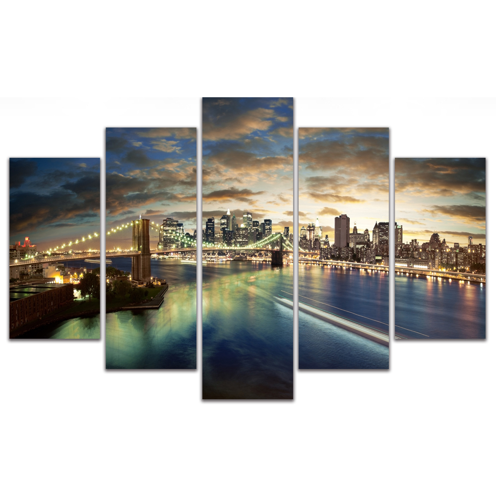 Unframed Canvas Painting City Night Scene Building Bridge Photo Picture Prints Wall Picture For Living Room Wall Art Decoration