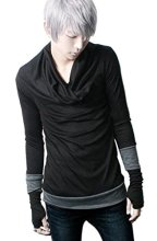 Abetteric Men's Gothic Punk Long sleeve Shawl CollarCotton Sweater