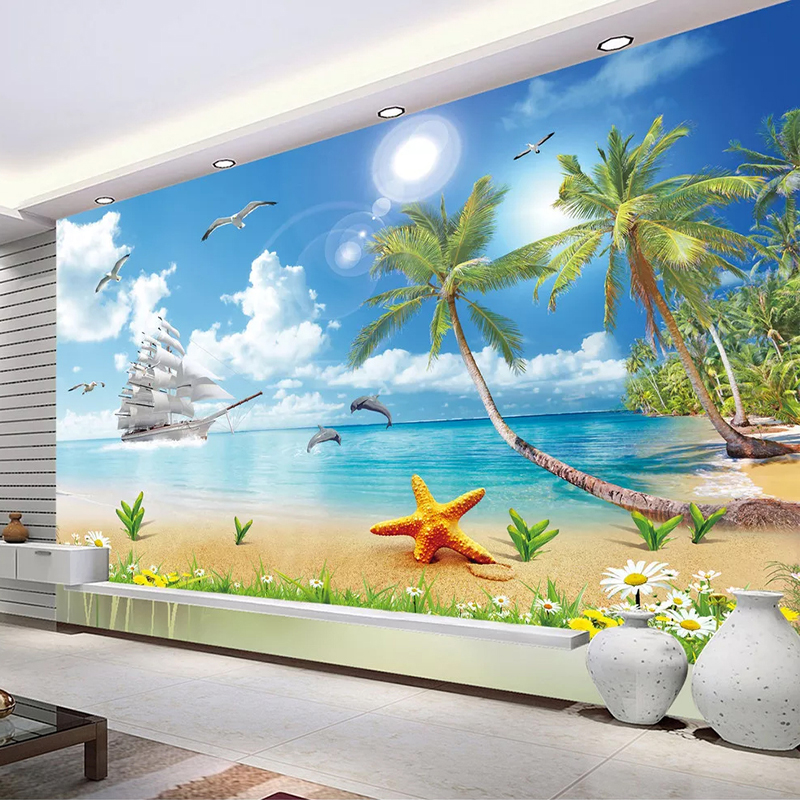 Seascape Beach Coconut Tree 3D Photo Wallpaper Waterproof Self-adhesive Sticker Wall Mural Living Room Bedroom Papel De Parede
