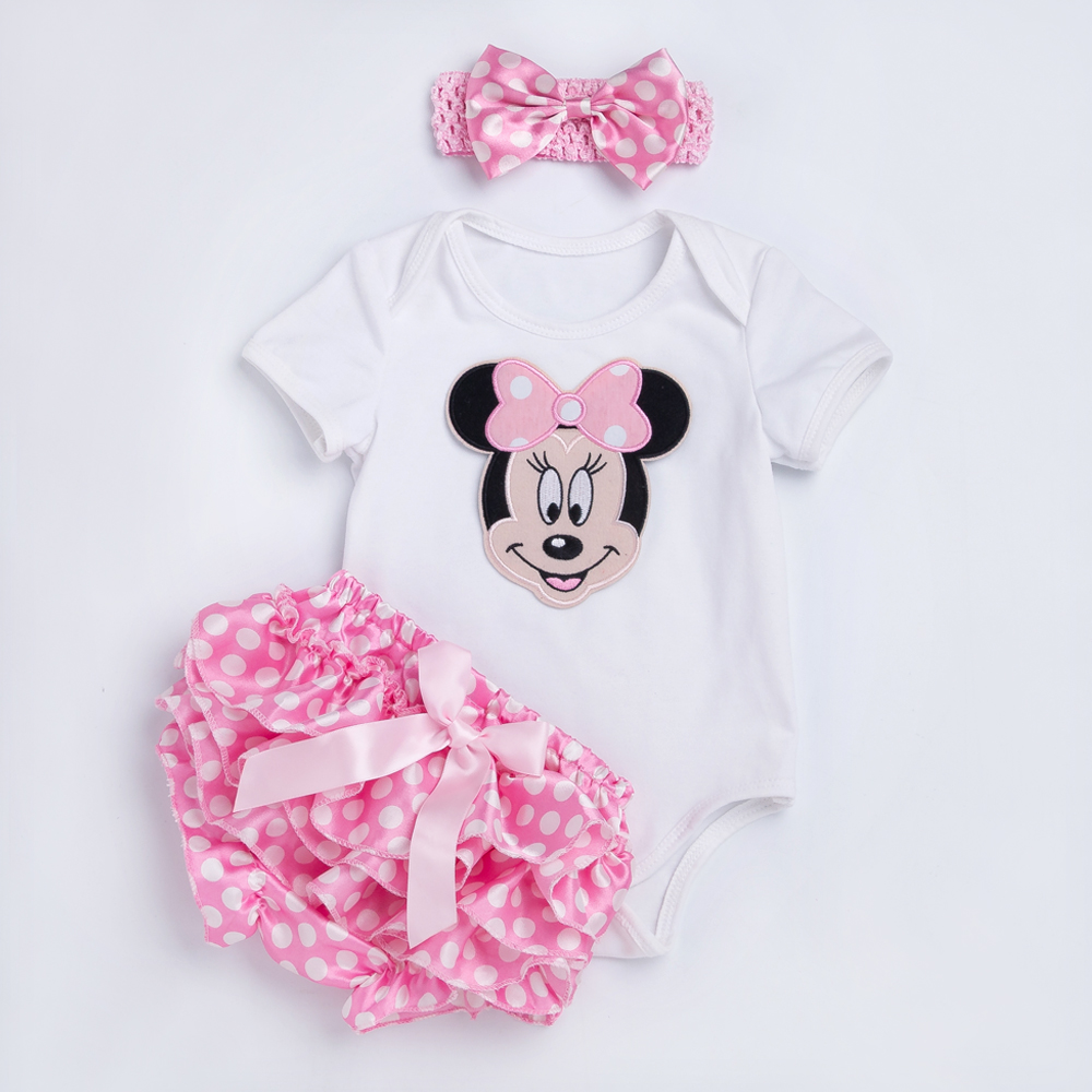 YK&Loving Polka Dot baby Rompers Outfits Sets Summer Style Cotton Cute Mouse Jumpsuit Ruffles Bloomer Newborn Baby Girl Clothes minnie newborn baby girl clothes gold ruffle infant bodysuit bloomer headband set winter jumpsuit toddler birthday outfits
