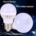 Lâmpada led motion sensor lâmpada led e27 ou lâmpada de controle de som luz lâmpadas LED Auto LEDs de luz lâmpada de Controle de Voz Inteligente