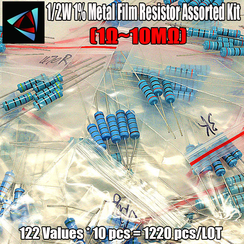 1% 1/2W 122Values*10pcs=1220pcs (1 Ohm ~10M Ohm) 10 Ohm 100 0hm Metal Film Resistor Assorted Kit