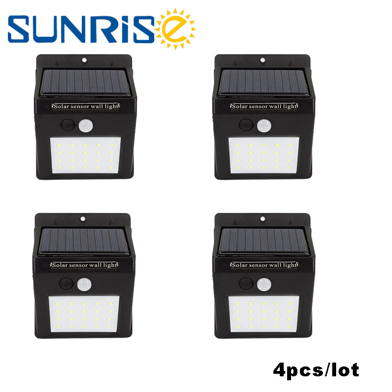 LED Solar Lamp 4pcs 20leds  Motion Sensor Garden Outdoor Decoration Waterproof Wireless Floodlight  LED Street Light