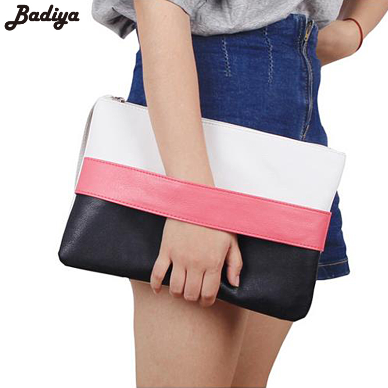 New Women Handbag Solid Patchwork Lady Day Clutches Popular Stitching Soft Zipper Packet Fashion Bolsa Feminina Clutch Handbags